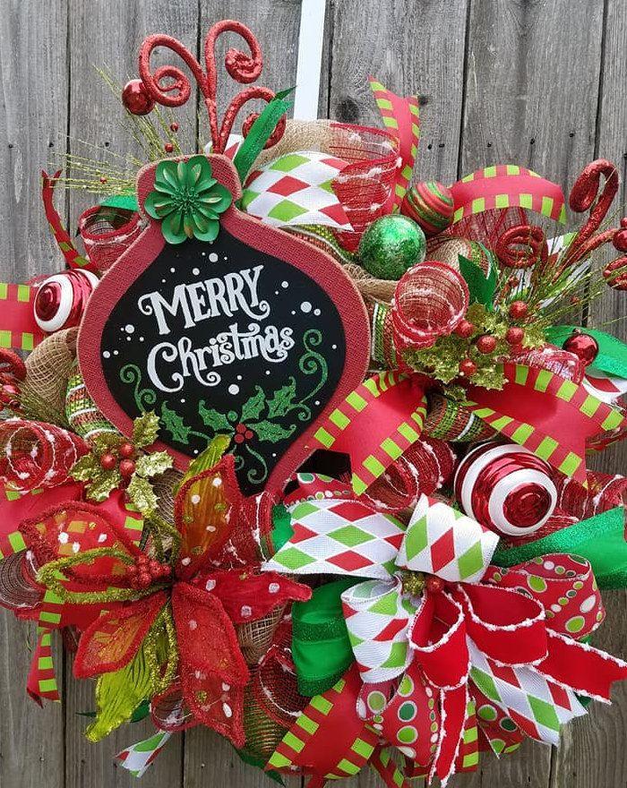 Merry Christmas Wreath, Whimsical Wreath, Christmas Deco Mesh Wreath - christmas decor pinterest
