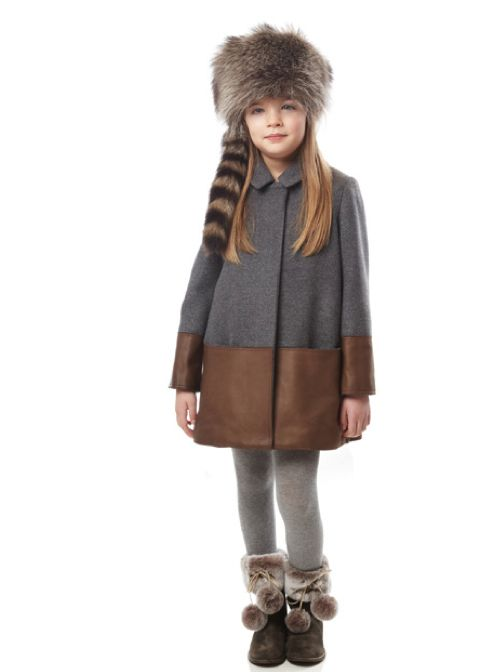 Fendi fall/winter 2013 kidswear line has a very cool leather hemmed wool coat