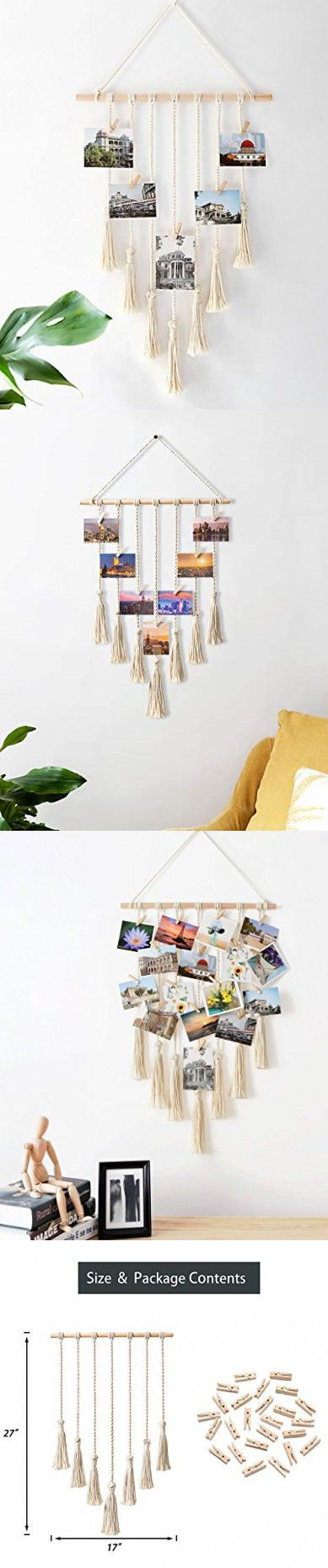 Mkono Hanging Photo Display Macrame Wall Hanging Pictures Organizer Home Decor 25 Wood Clips