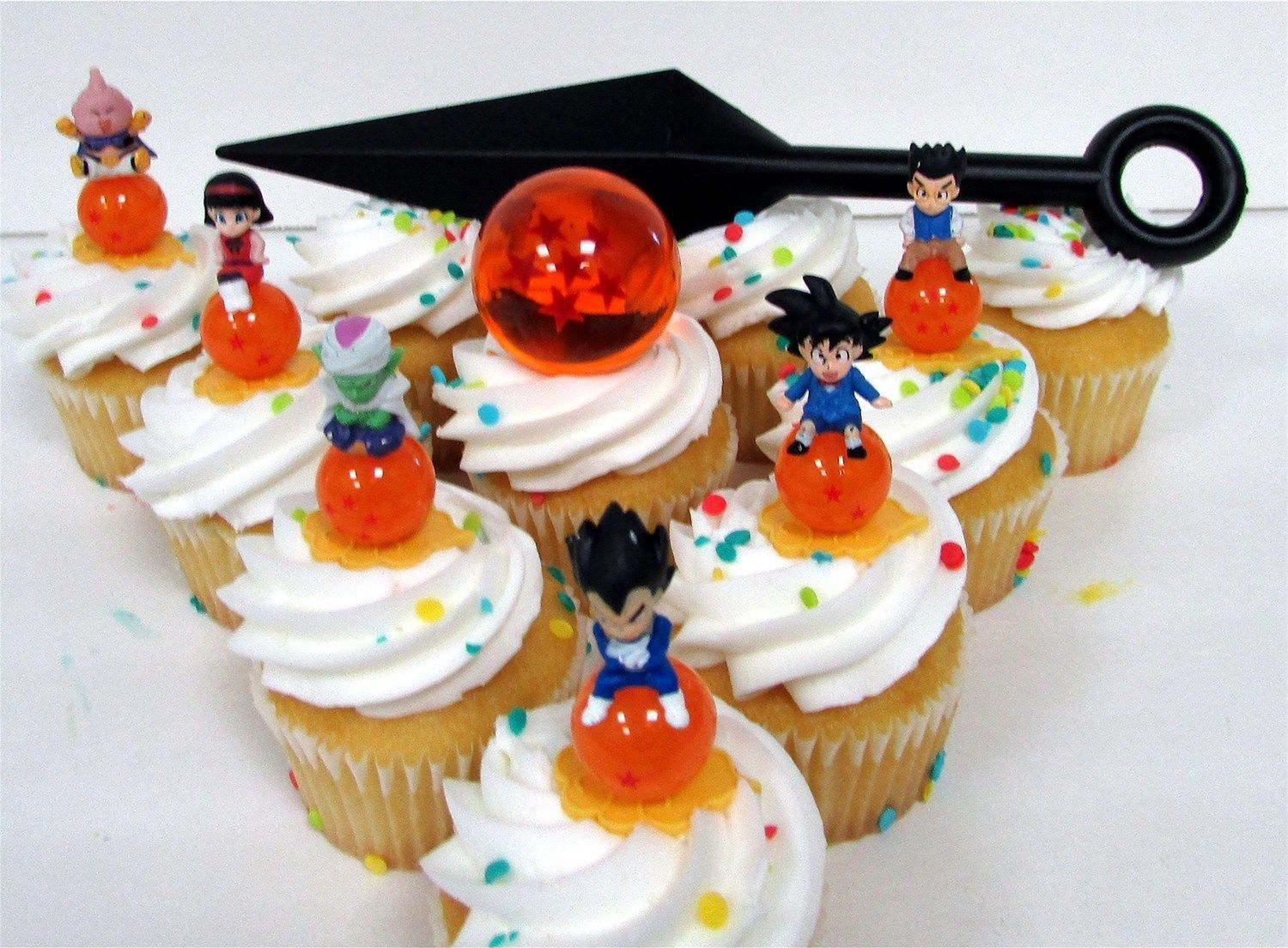 Dragon Ball Z 8 Piece Cupcake Topper Set Featuring 6 Random Dragon