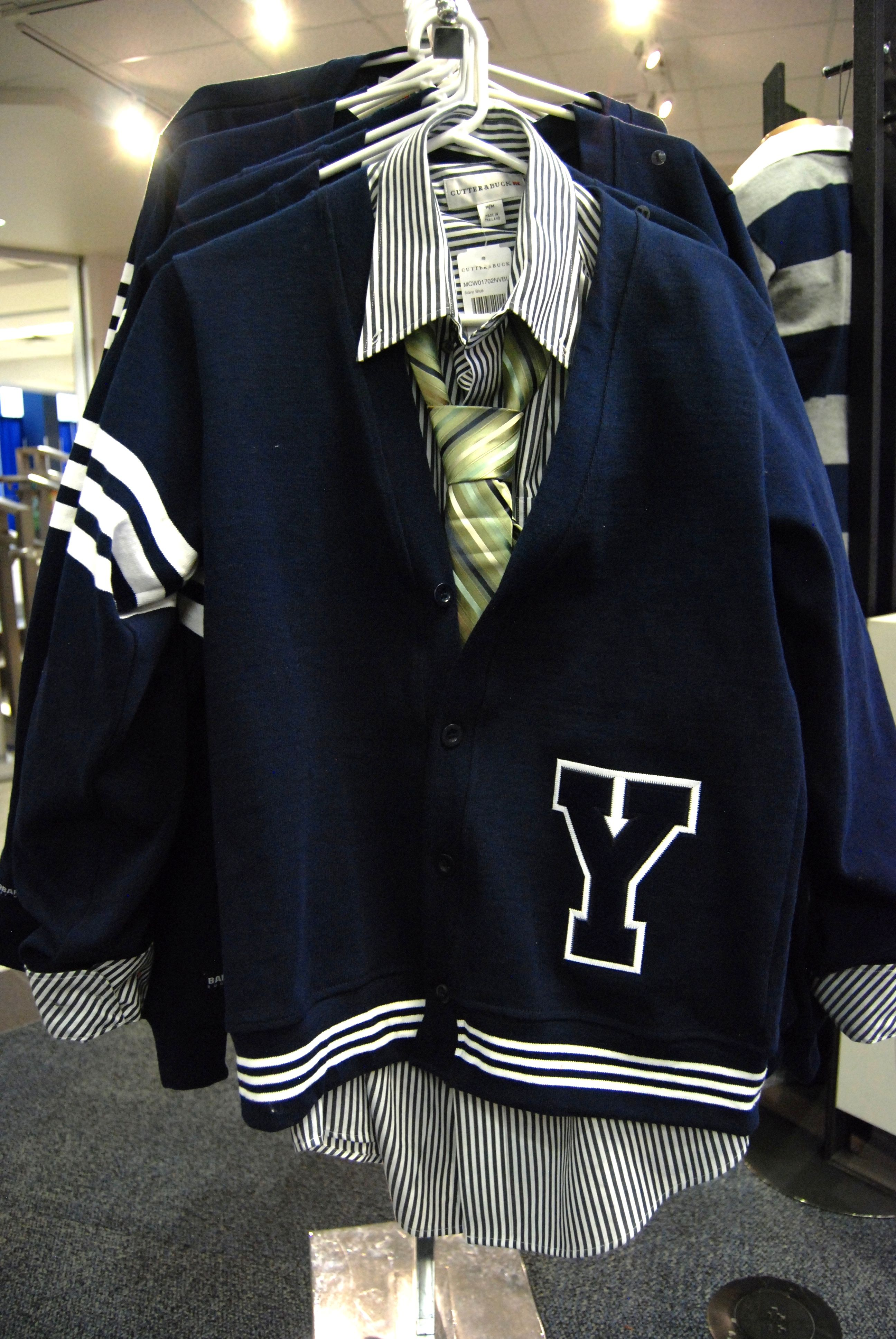 For him: BYU collegiate style, preppy, classic, Letterman rugby cardigan.