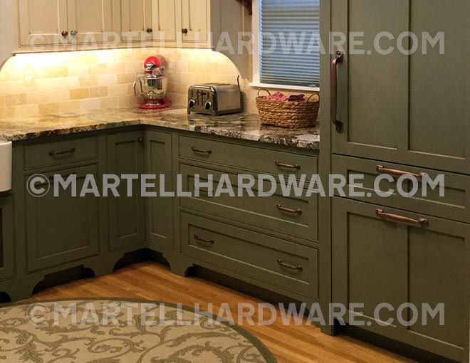 Cottage Style Kitchen Featuring The Artisan Series Decorative Hardware  Suite In Old Copper Finish By Cliffside