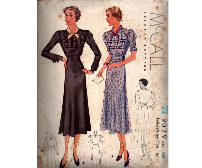 McCall 9079 RARE Womens 1930s Ruffled Bodice Dress Printed Vintage Sewing Pattern Size PLUS SIZE Bust 40 inches