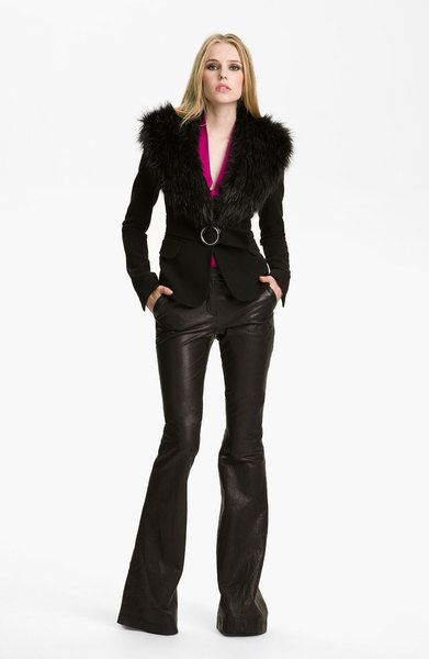 Nadia Faux Fur Collar Wool Jacket - Lyst