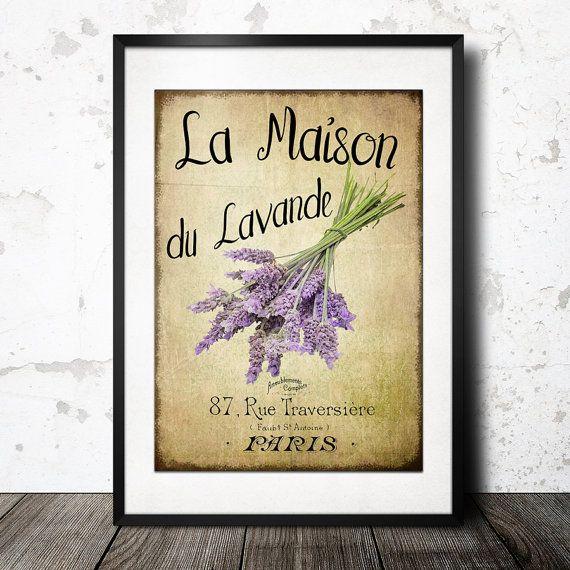 "Lavender Wall Art vintage french lavender graphics wall art ""maison du lavande"
