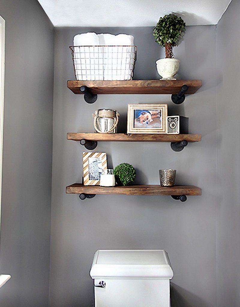 DIY para baldas de madera | Decoracion de baños pequeños ...