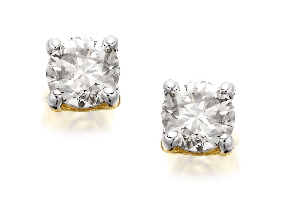f10961918 9ct Gold Diamond Solitaire Stud Earrings - 1/3ct per pair - D5449 | F.Hinds  Jewellers
