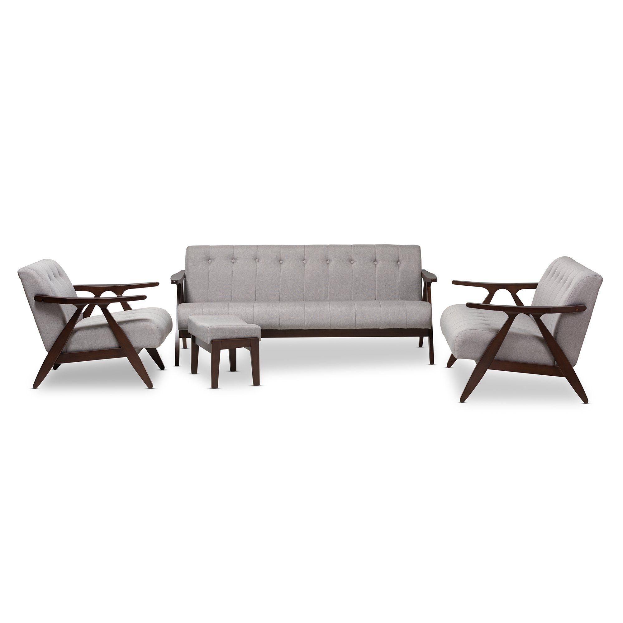 Baxton Studio Enya Walnut Wood Grey 4-Piece Living Room Set | Walnut ...
