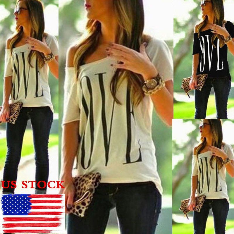 nice awesome womens one shoulder love print tops short sleeve