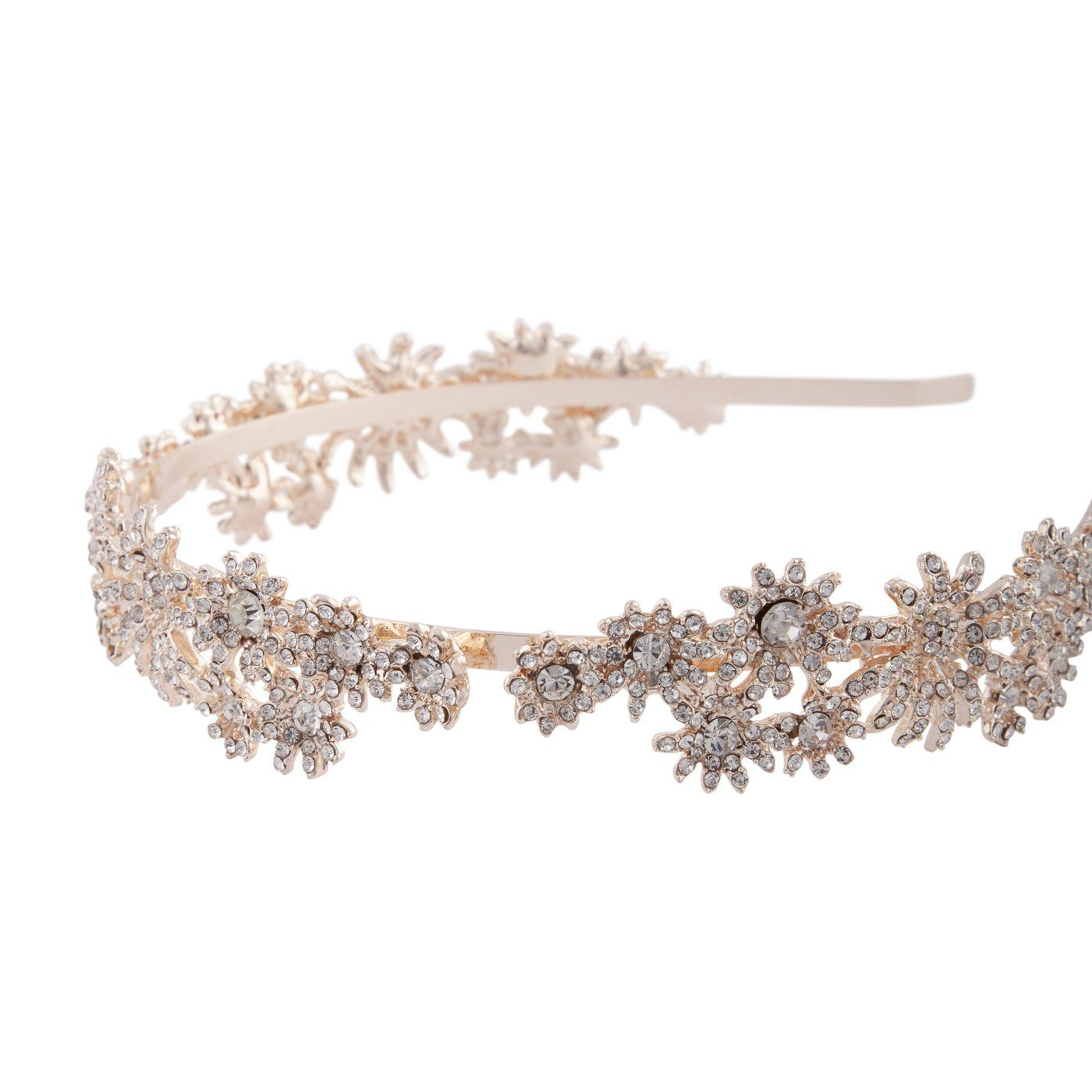 Headband Alice Band Bridesmaid B Diamante Flower /& Pearls Bridal Hair Band