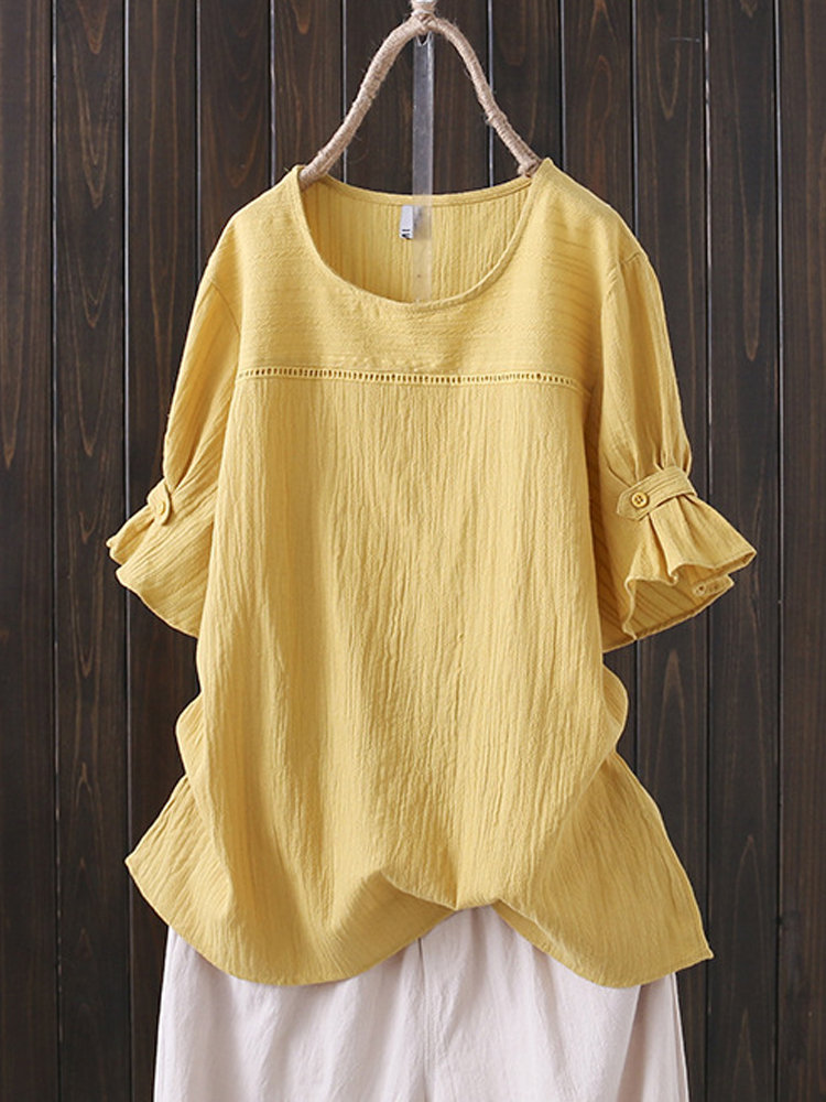 Solid Color Ruffle Sleeve Overhead Plus Size Vintage Blouse 9