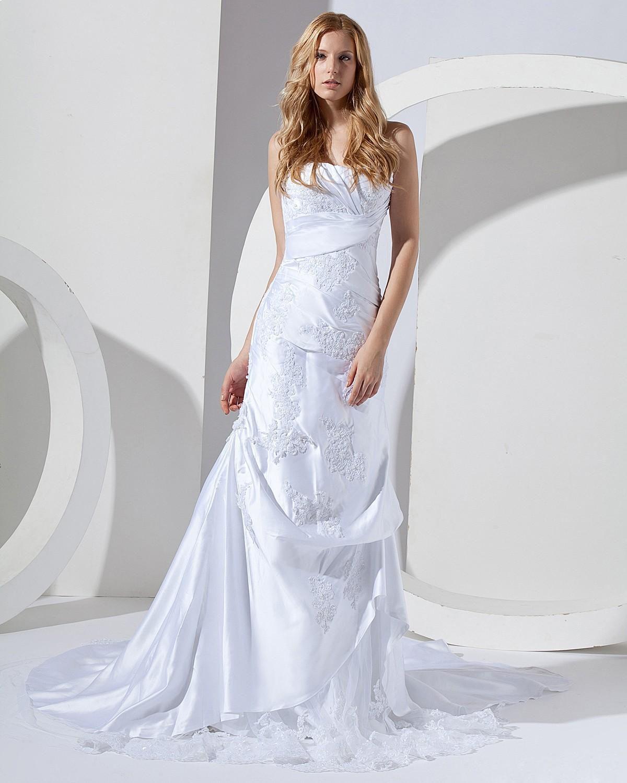 Sweetheart Taffeta Floor Length Mermaid Wedding Dress Column Wedding Dress Bridal Gowns Mermaid Asymmetrical Wedding Dress [ 1500 x 1200 Pixel ]