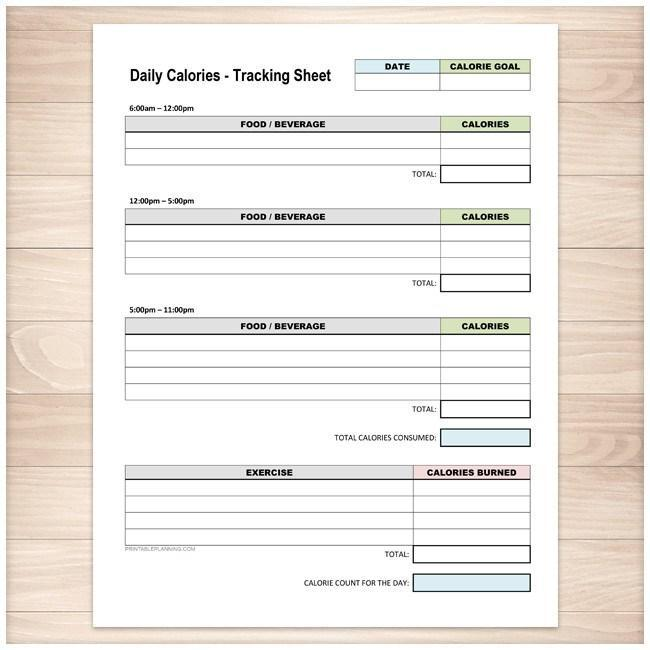 Daily Calories And Exercise Tracking Sheet Printable Health