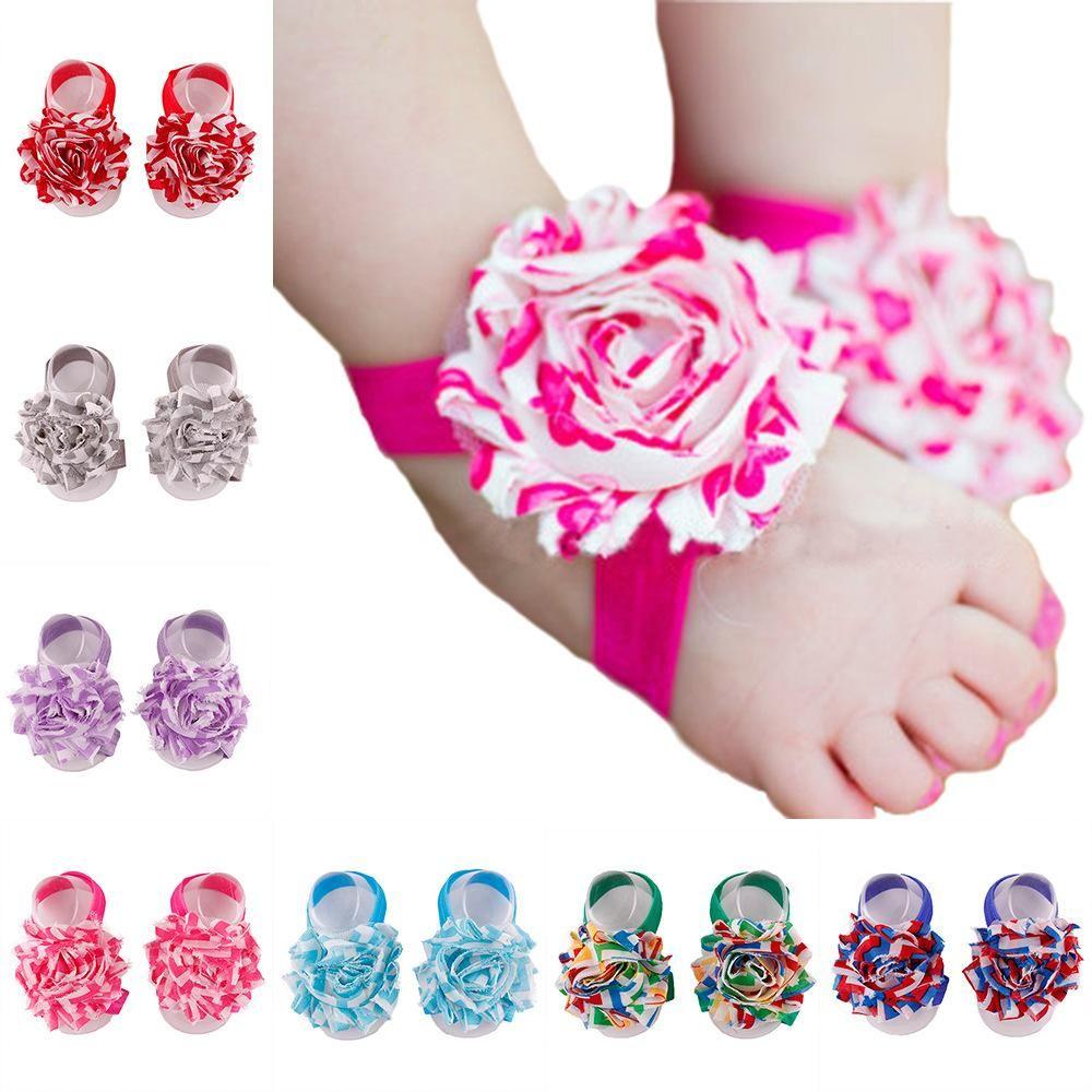 Chevron printed flower chiffon baby girl elastic headband  and barefoot sandals
