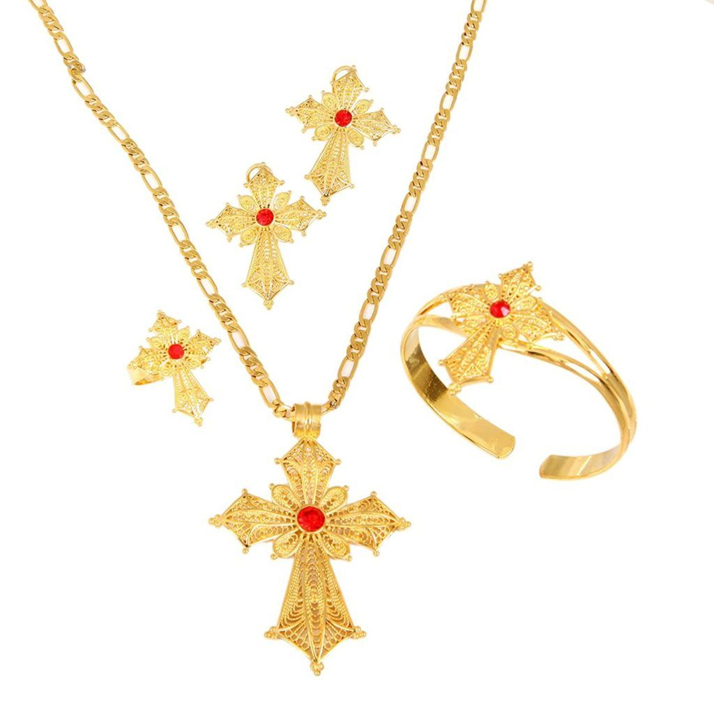 Ethiopian stone color cross jewelry set gold color necklace earrings