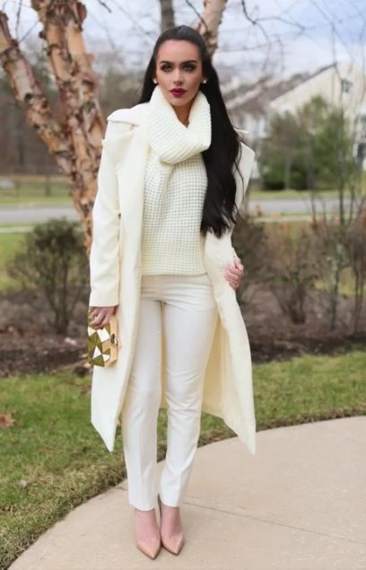 Creme White Christmas Outfit, Christmas Fashion Outfits, Chic Winter Outfits,  Cream Dress Outfit - Pin By Nicole Young On Fall Fashion! In 2018 Fashion, Winter