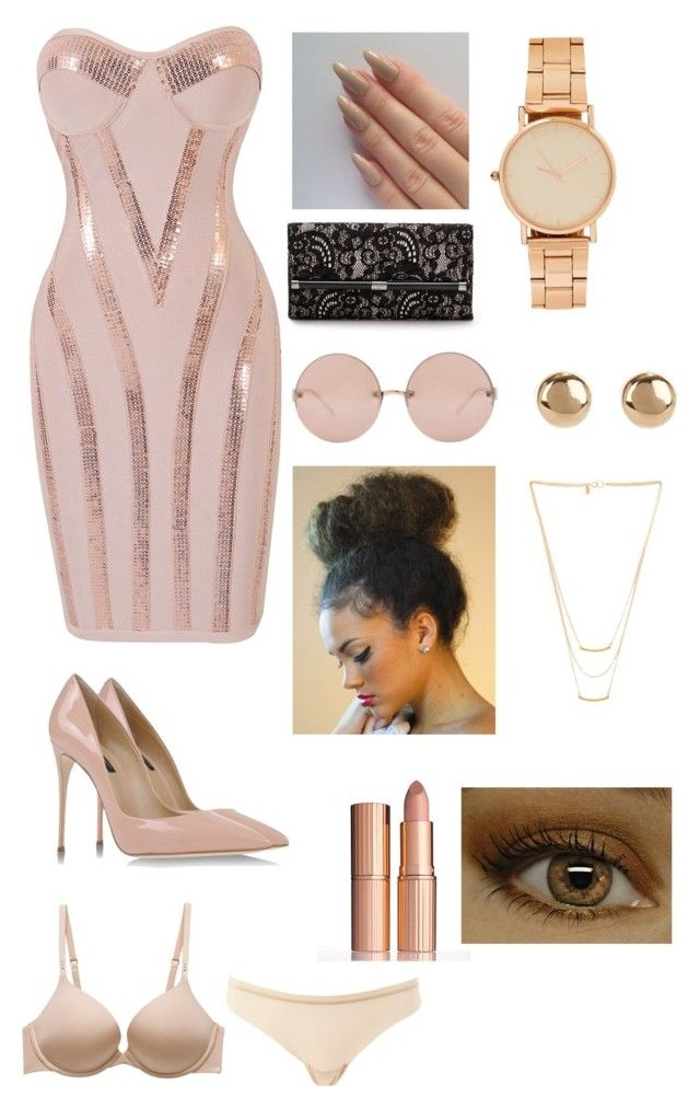 """Nude"" by bdoughbdough ❤ liked on Polyvore featuring mode, Dolce&Gabbana, Diane Von Furstenberg, Linda Farrow, Jules Smith, Gorjana, Charlotte Russe en Charlotte Tilbury"