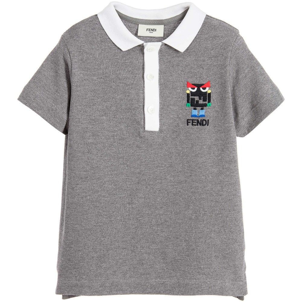 577eafd7e8ec Fendi - Boys Grey  Monster Robot  Cotton Piqué Polo Shirt ...