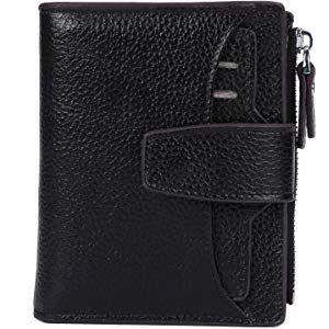 f5c858aec934 AINIMOER Women's RFID Blocking Leather Small Compact Bi-fold Zipper ...