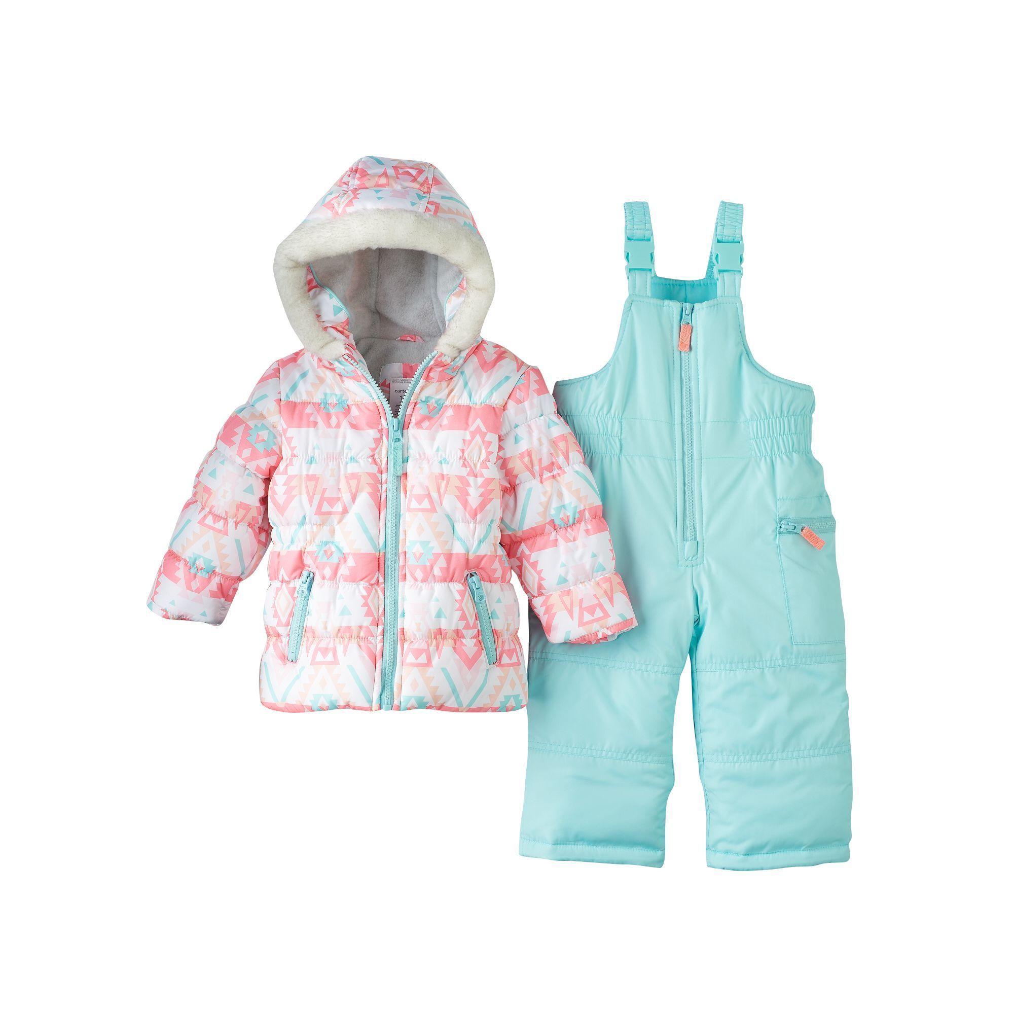 Baby Girl Carter s Print Puffer Jacket & Snow Pants Set Size 12