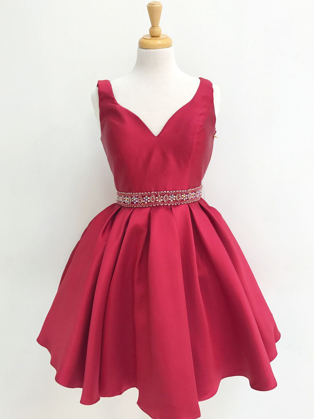 Cute short red homecoming dress with sequins back flower girl