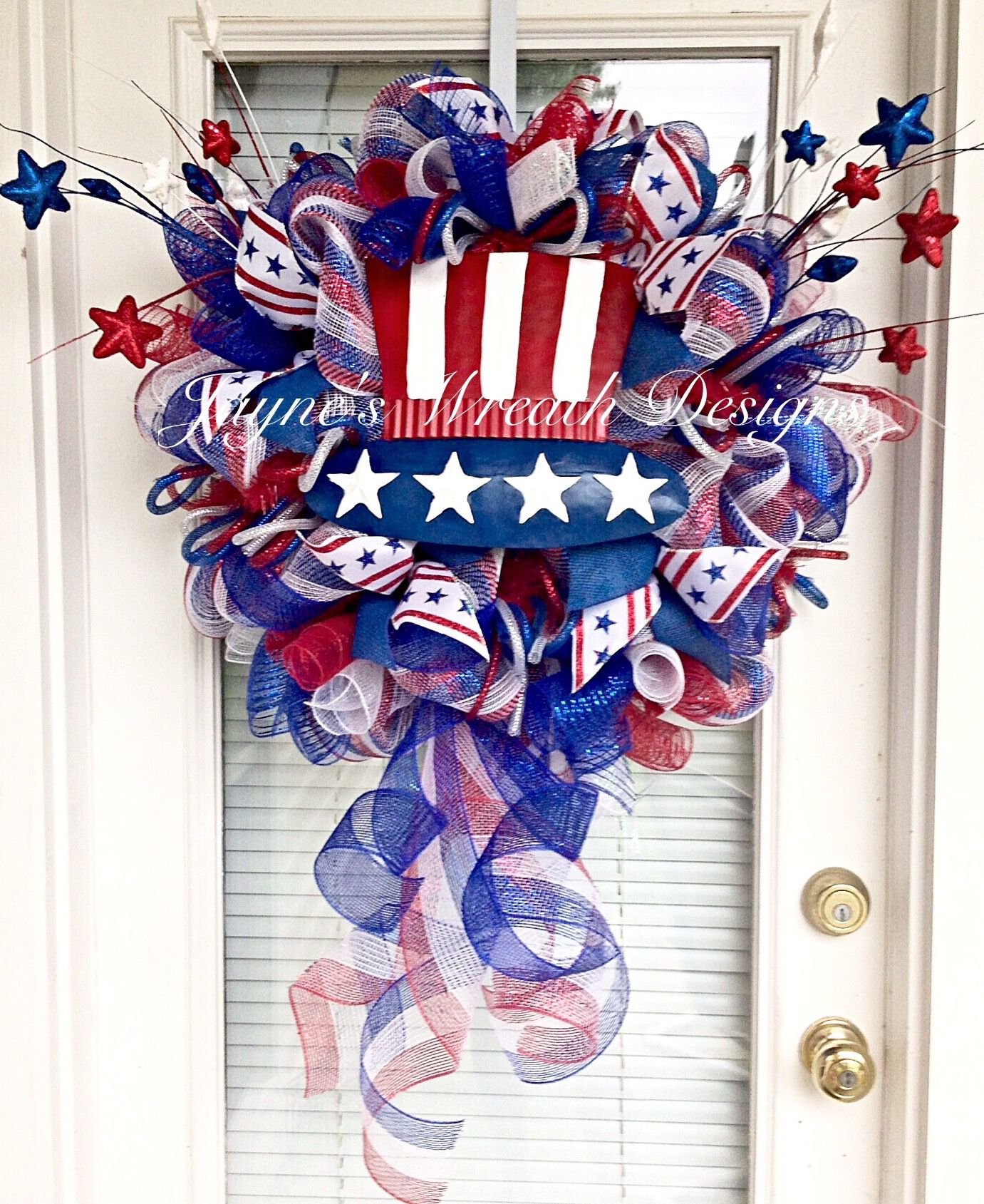 Crafts with deco mesh - Patriotic Deco Mesh Wreath Great For Memorial Day And The 4 Of July Independence