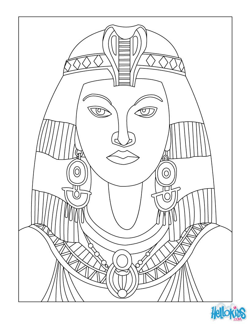 egyptian art coloring pages cleopatra queen of egypt for kids coloring page - Egyptian Coloring Pages Printable