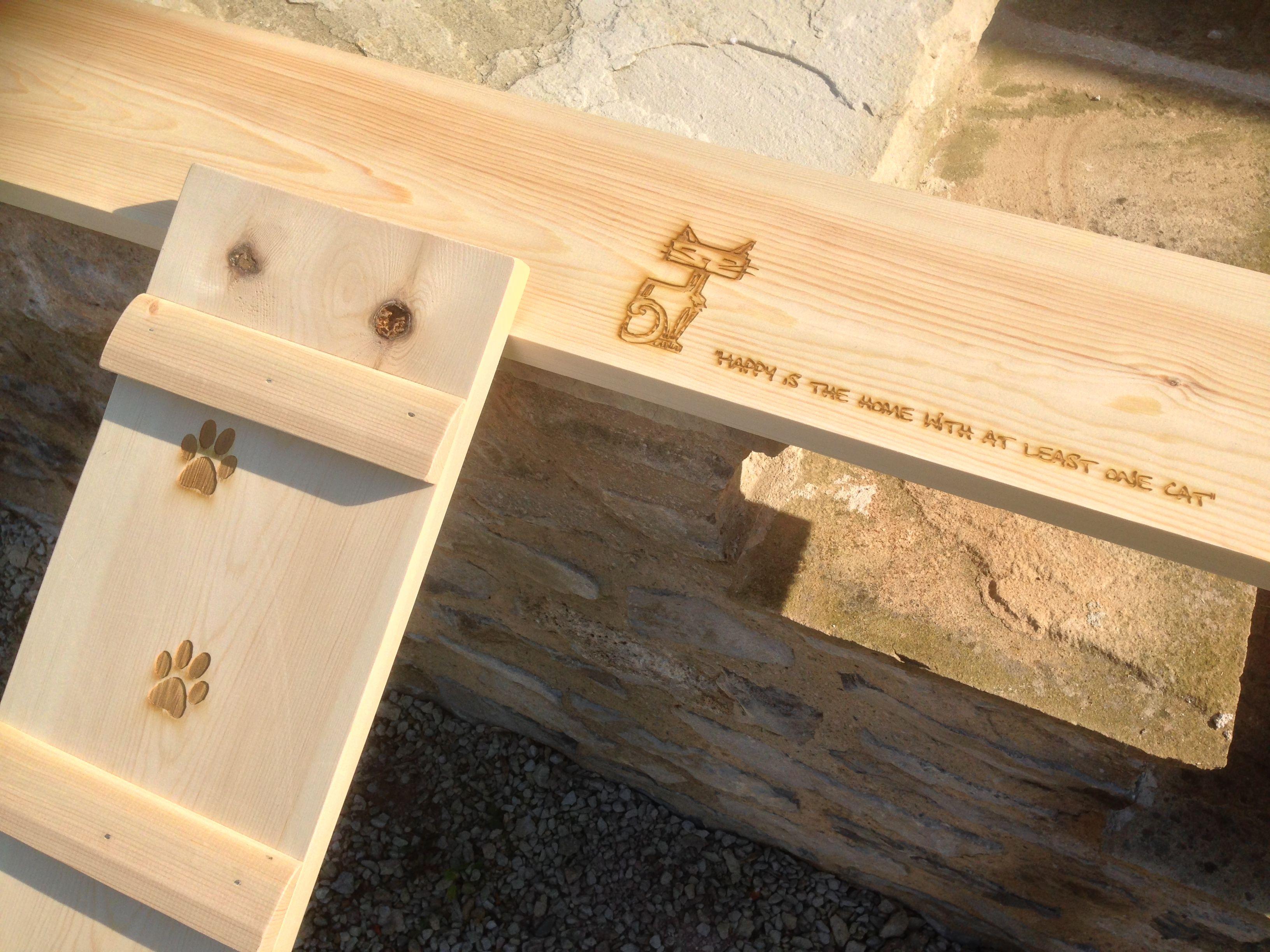 Laser engraved cat sleeping platform for Cat Rescue Centre