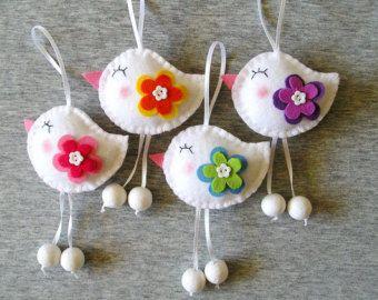 Spring Birds - Felt Ornaments - Cute Home Decor - Funny Flowers - Felt Decor - Handmade Embroidery - Set of 4 - White Red Green