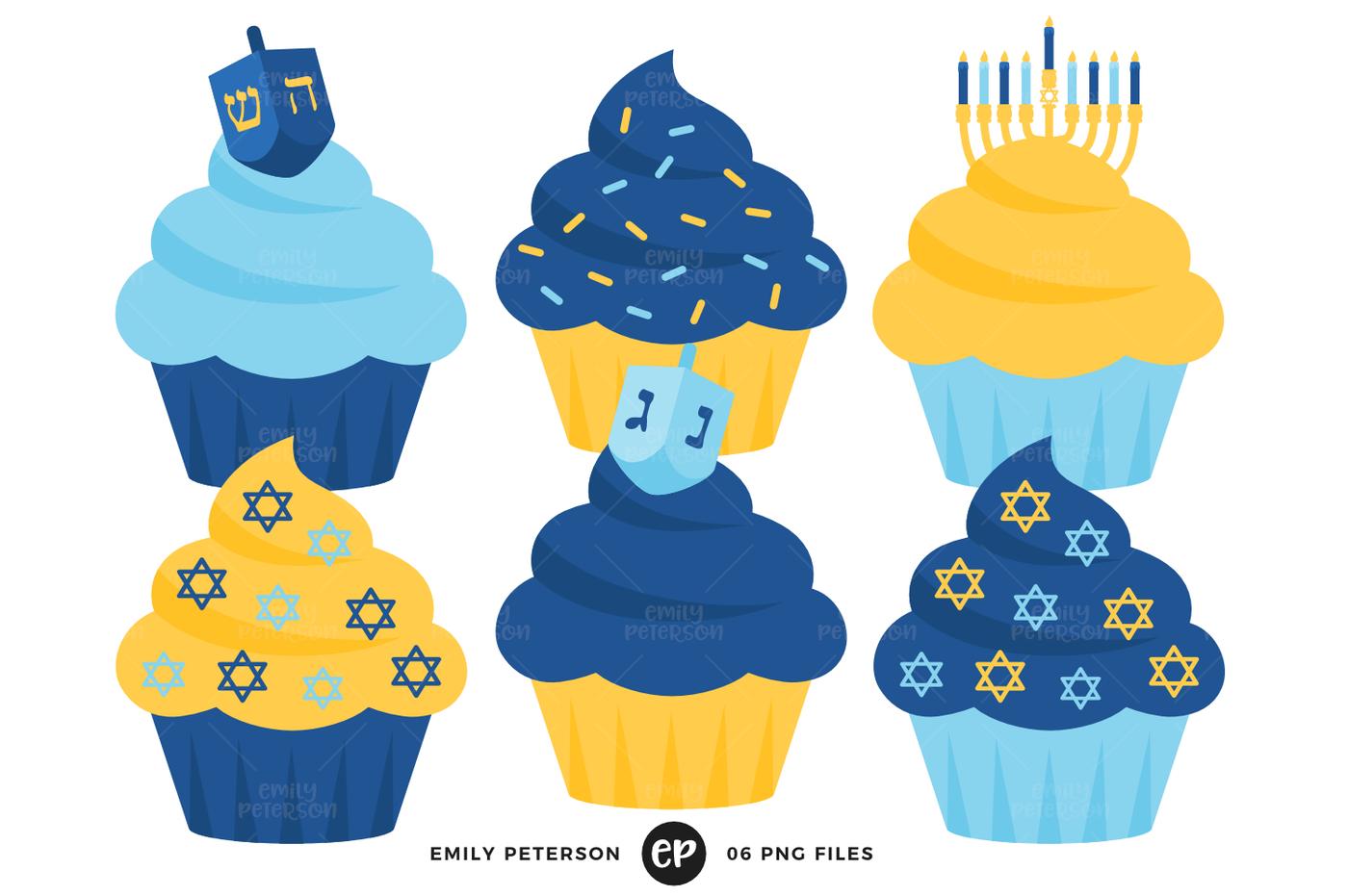Hanukkah Cupcakes Clipart By Emily Peterson Studio