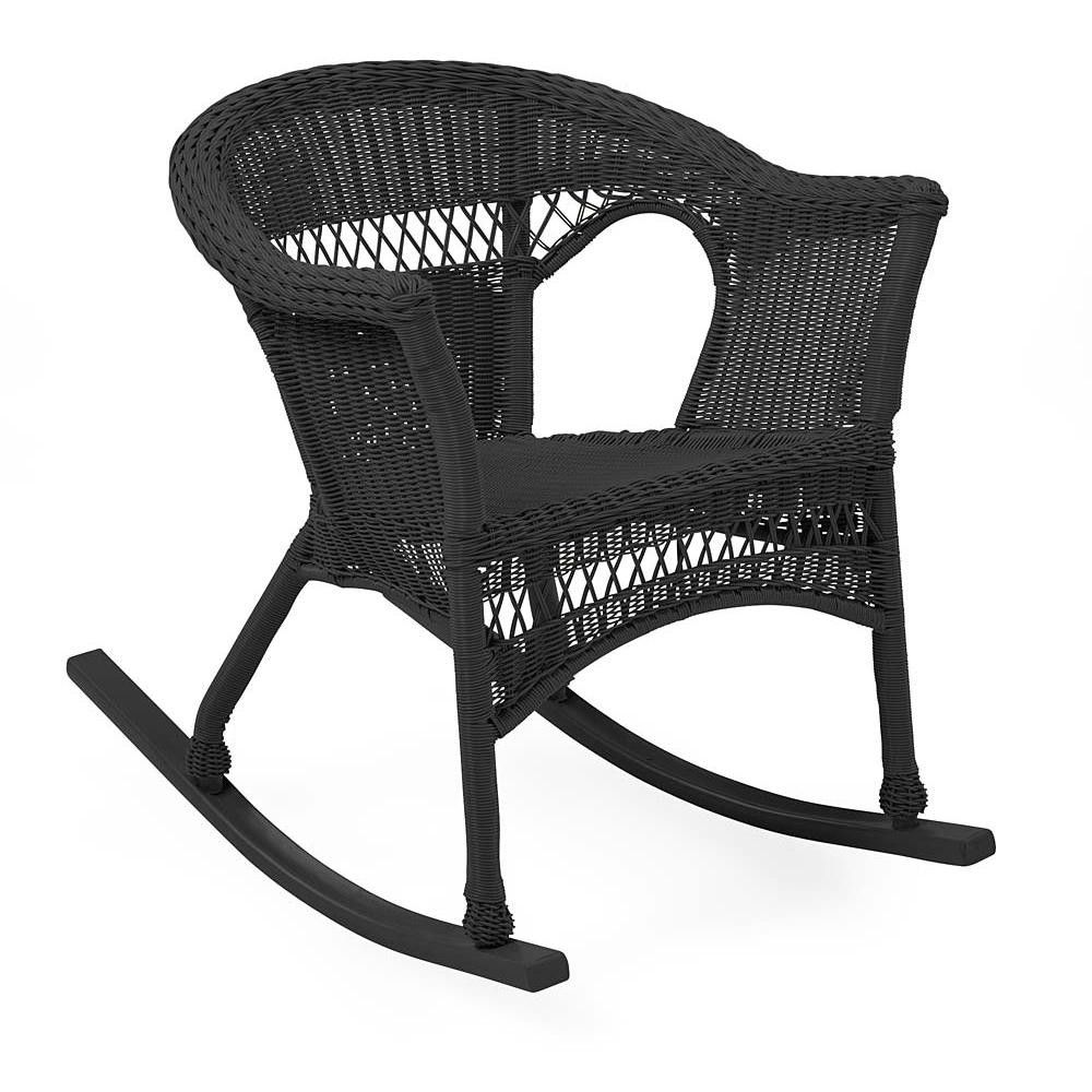 Easy Care Wicker Rocker / Patio Rocking Chair, Black