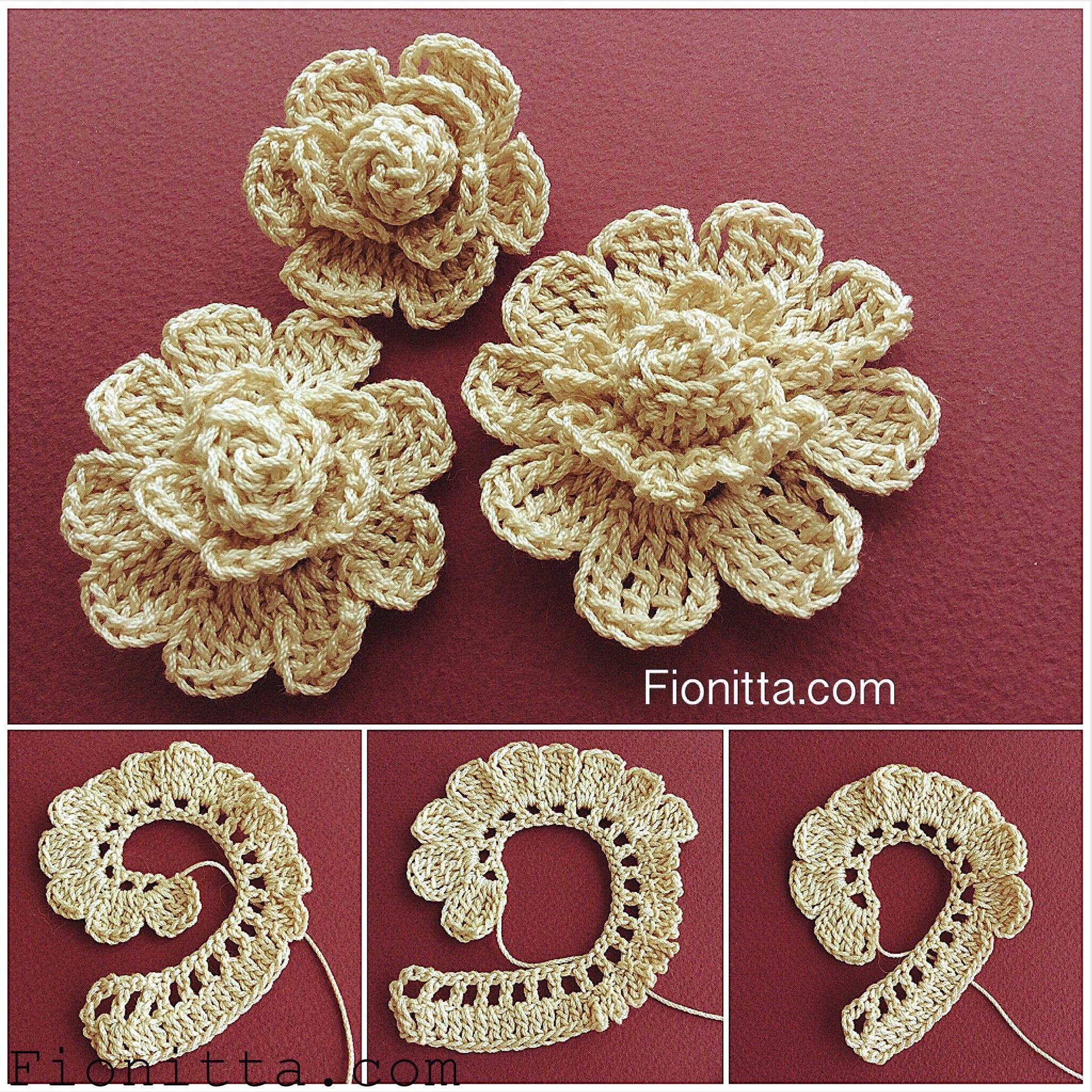 You can find more step by step here crochet flowers for Bordure uncinetto per mensole