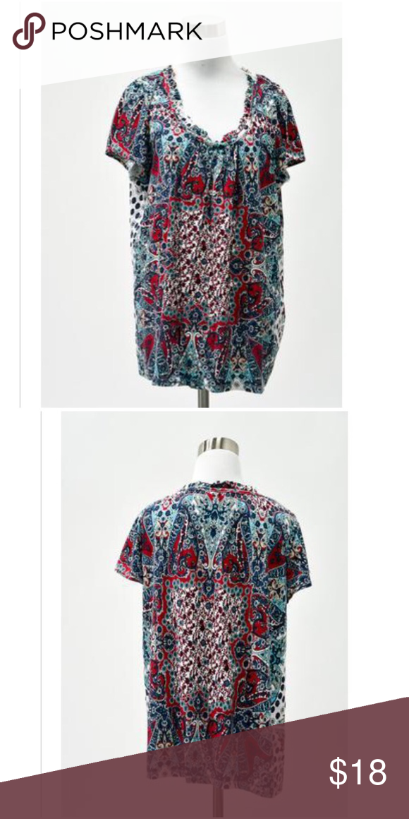 💞Just Listed💞 Style & Co. Paisley boho top Size XL. Cotton, spandex. Red, Aqua, & navy paisley knit cap sleeve blouse. EUC Style & Co Tops Blouses