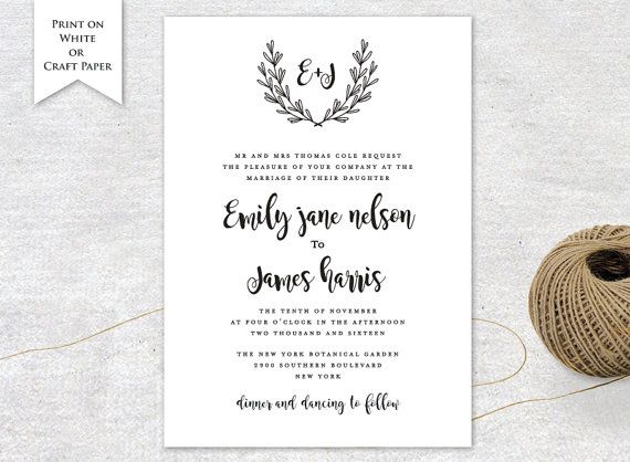 Invitation Card Printable Wedding Invitation Templates DIY