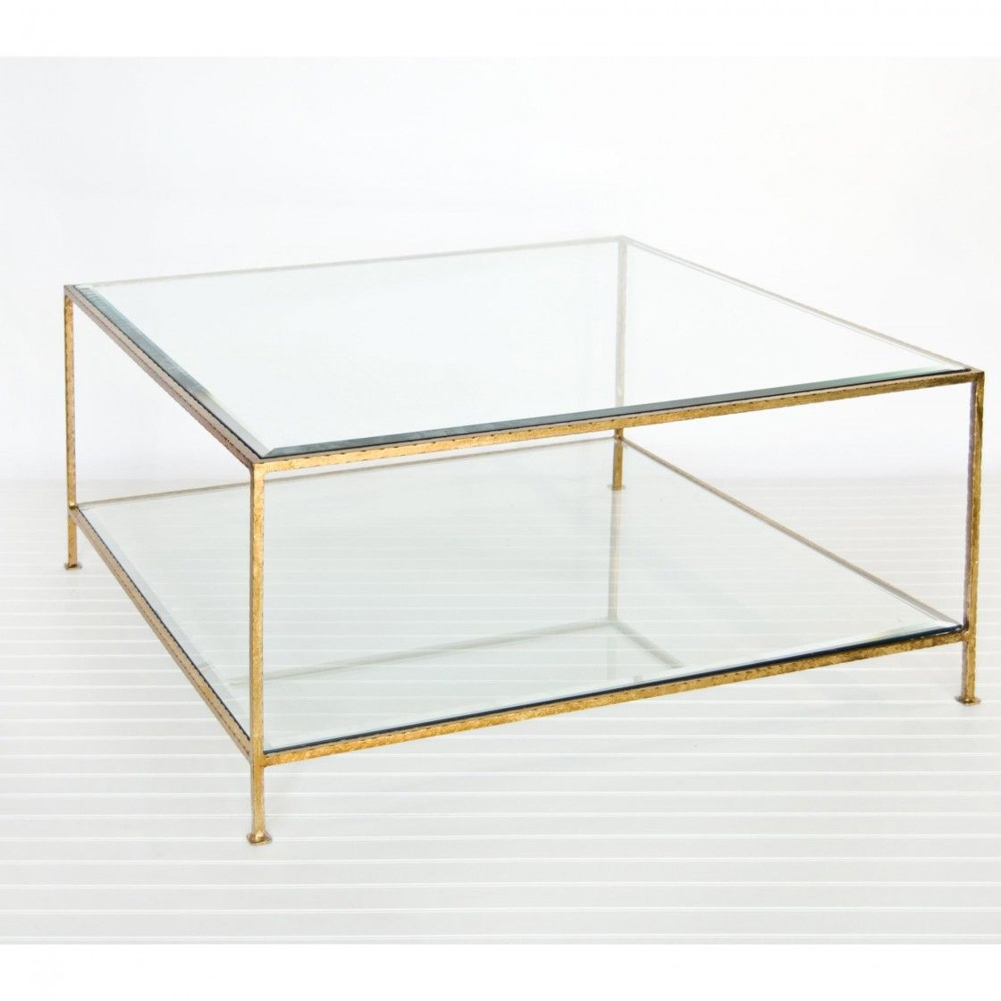 Popular Square Clear Glass Coffee Table Beveled Edge Top With Gold Metal Frames With Lucite