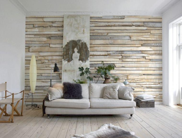 Parete Dietro Divano Grigio : Soggiorno con divano e cuscini grigi pavimento in legno chiaro