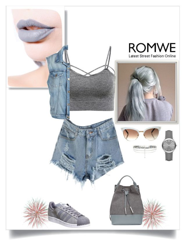 """""""ROMWE"""" by suvada-besic ❤ liked on Polyvore featuring Gucci, Lime Crime, Burberry, New Look, Frame Denim, Opening Ceremony and adidas"""
