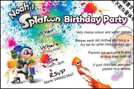 splatoon birthday party invitation for my beautiful son | party, Birthday invitations