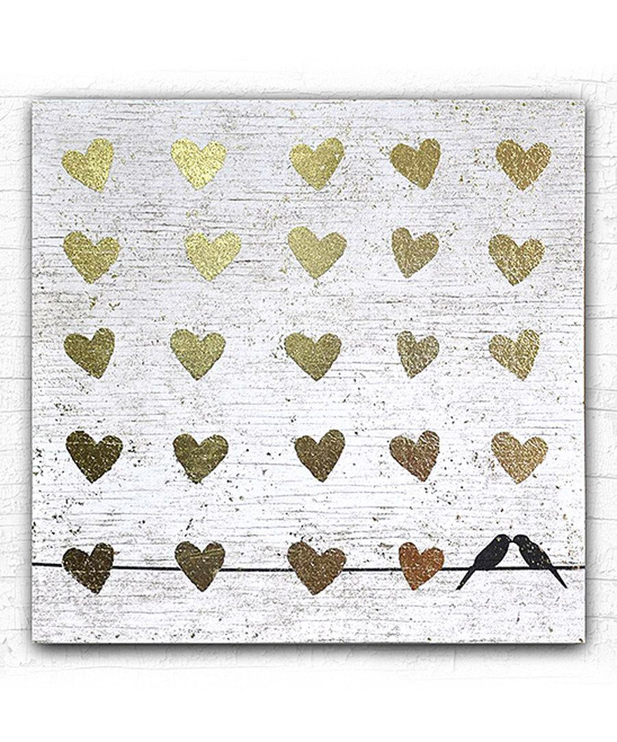 Look at this Gold Foil Hearts & Birds Gallery-Wrapped Canvas on #zulily today!