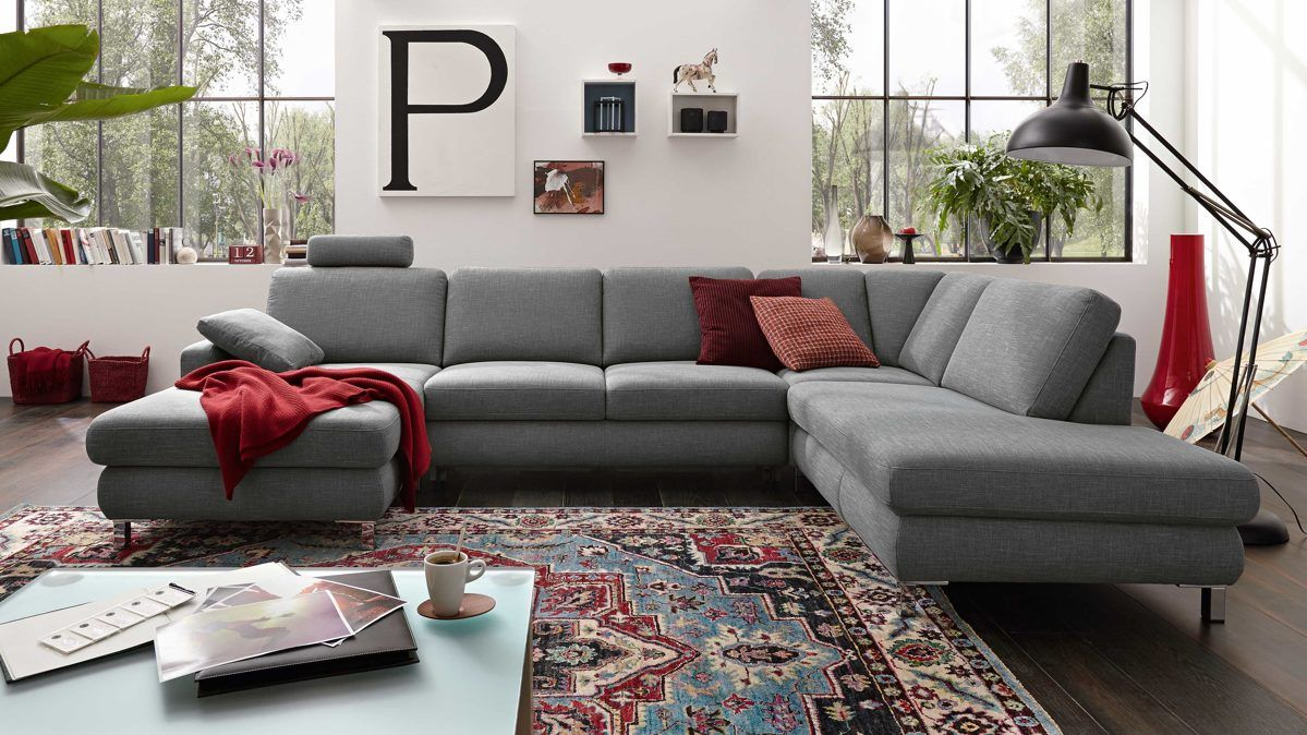 Sofa modern stoff  Trösser | Markenshops | Musterring MR 365 | in Grau, Stoff Smoking ...