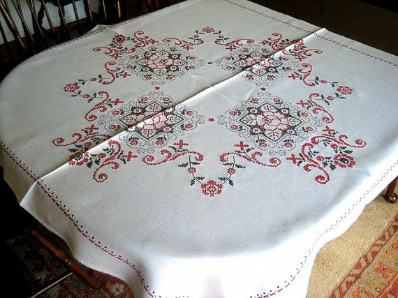 Embroidered Hand Made TABLECLOTH Linen by RenaissanceProfessor, $43.00