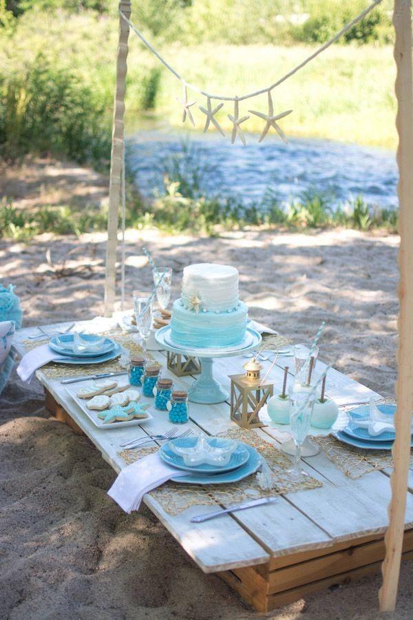 Beach Themed Table Setting & Beach Themed Table Setting | beach wedding | Pinterest | Themed ...