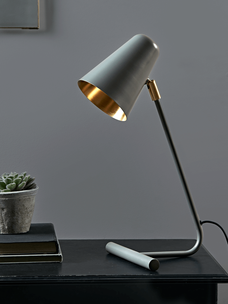 desk lighting solutions. With A Sleek Modern Shape And Conical Shade, Our Stylish Grey-green Desk Lamp Lighting Solutions