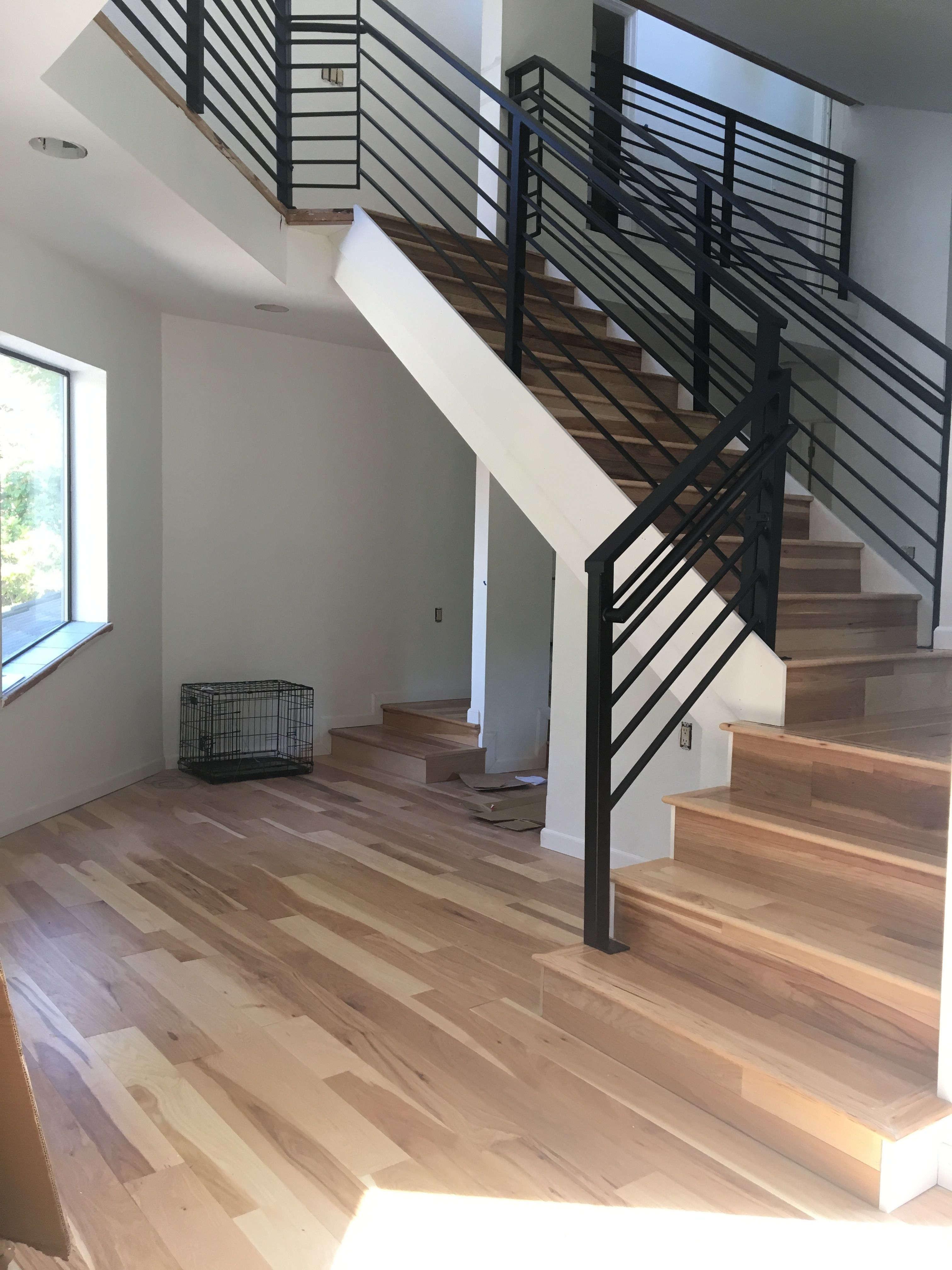 After Living Room Stair Railing Black Horizontal Powder Coated | Black Horizontal Stair Railing | Metal | Linear | Interior | Wood | Exterior