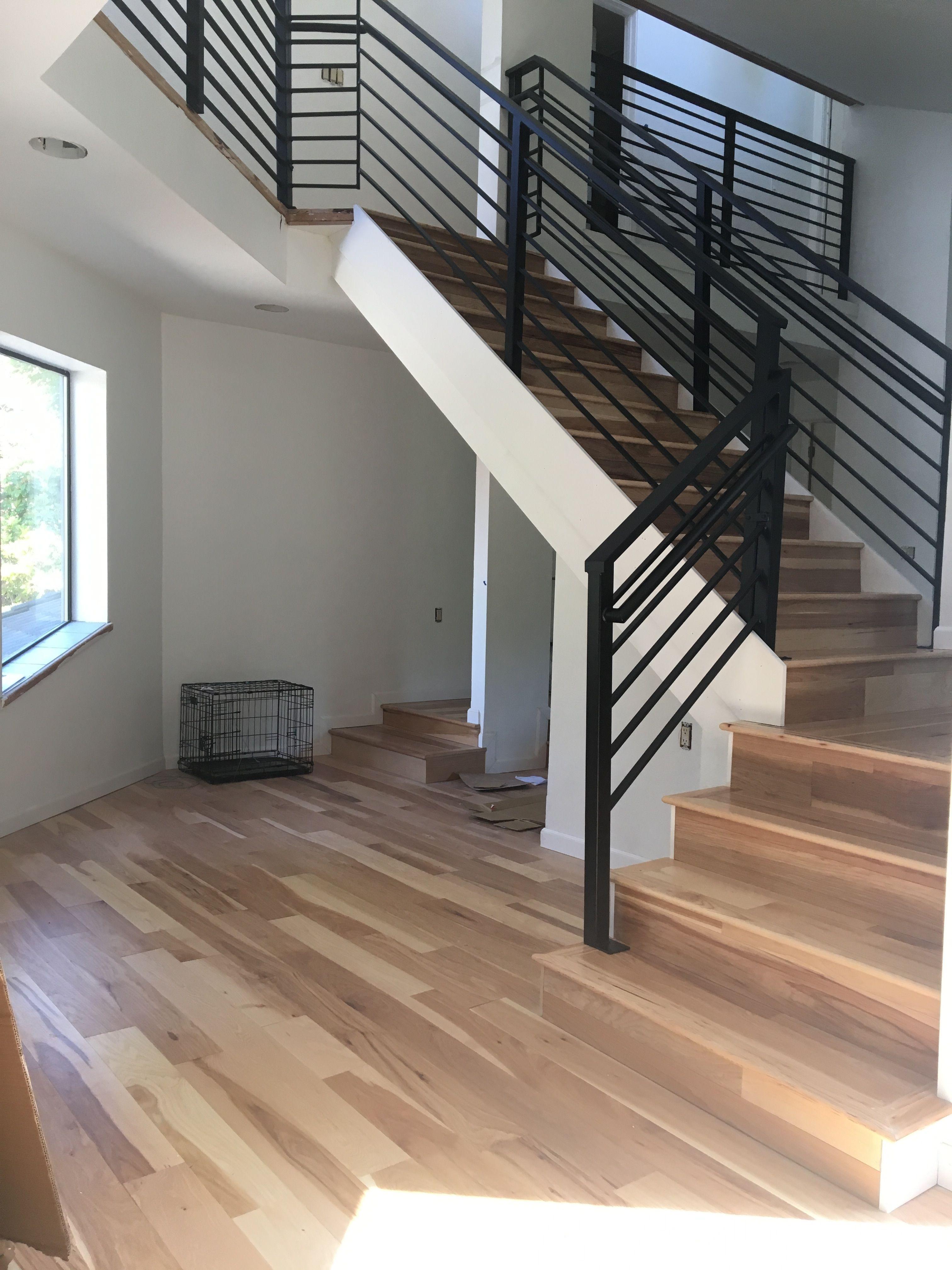 After Living Room Stair Railing Black Horizontal Powder Coated | Black Horizontal Stair Railing | Room | Split Entry | Steel | Modern | Metal