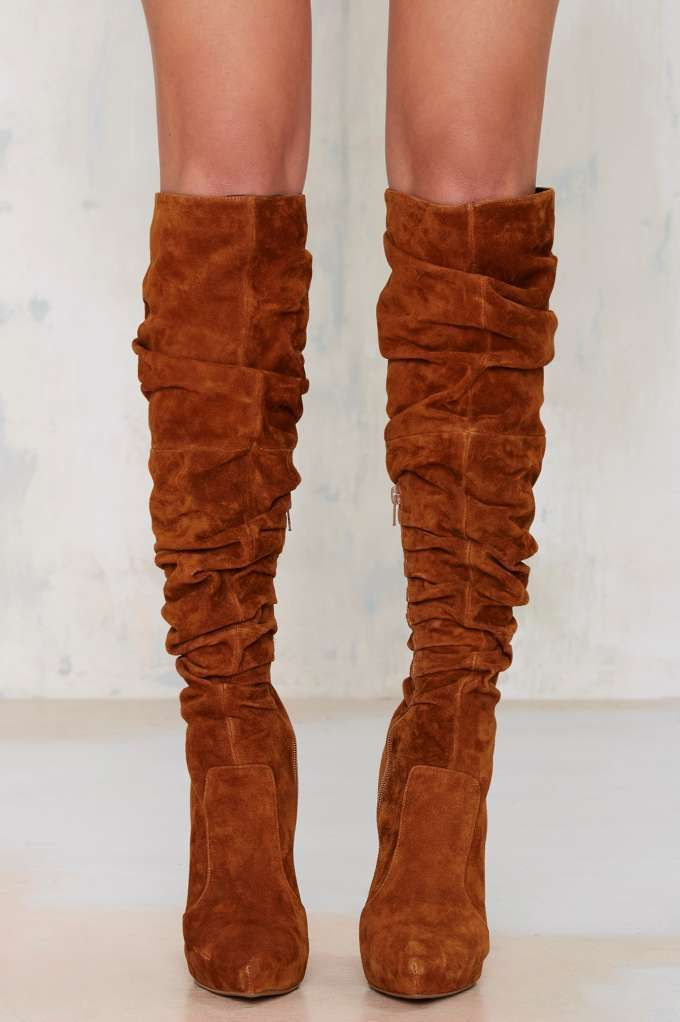Scrunchy Chestnut Alamode Suede Boot