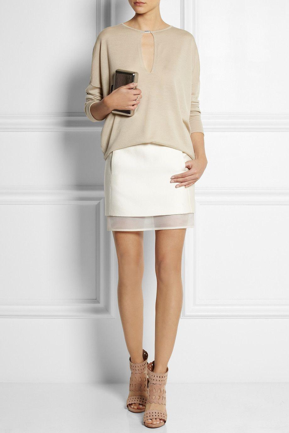 Beautiful J Mendel silk-blend twill mini skirt—KAUFMANFRANCO top—IAM by Ileana Makri ring—Alaïa heels—Kotur clutch❣ net-a-porter.com
