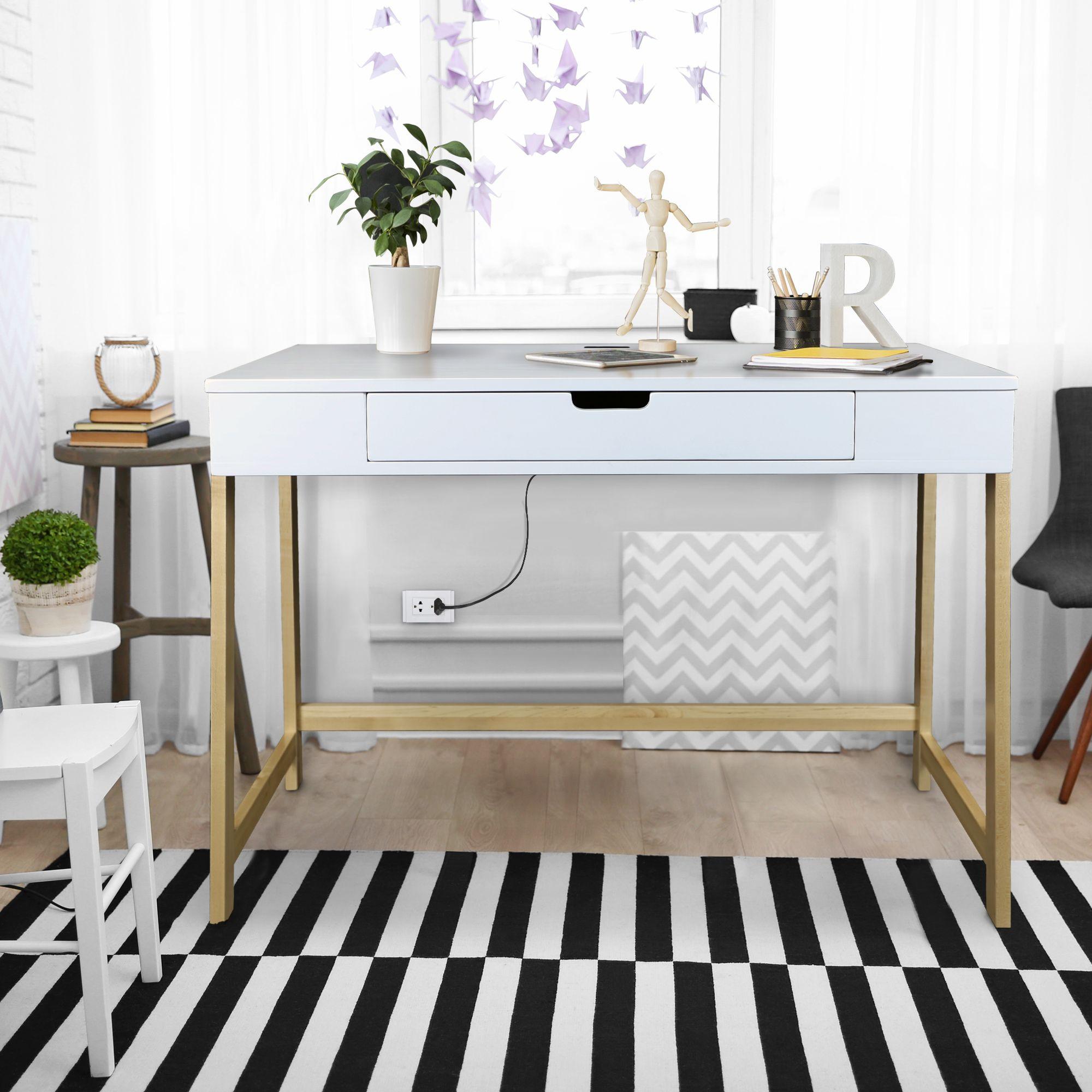 American Trails Art Deco Writing Desk Maple White Finish Walmart Com Smart Desk Furniture For Small Spaces Home Office Furniture