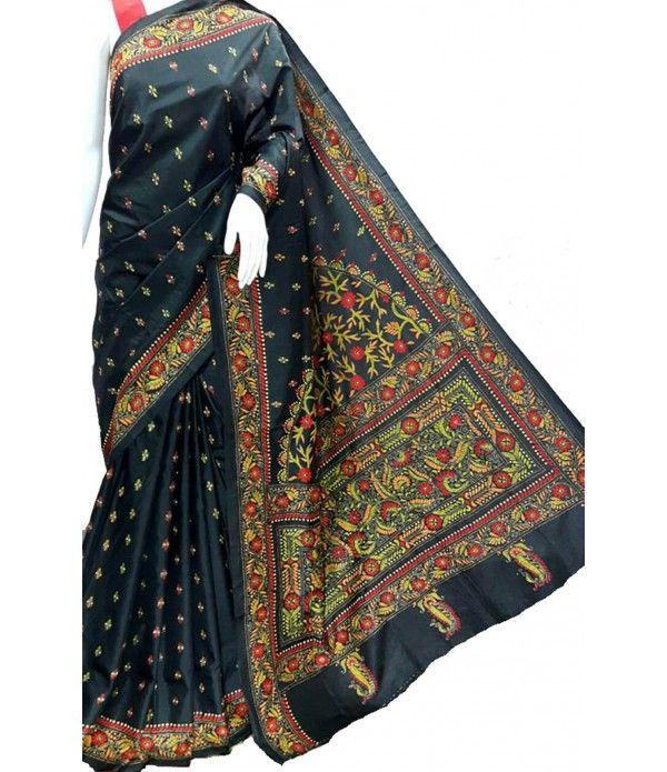 Black Silk Kantha Work Designer Saree