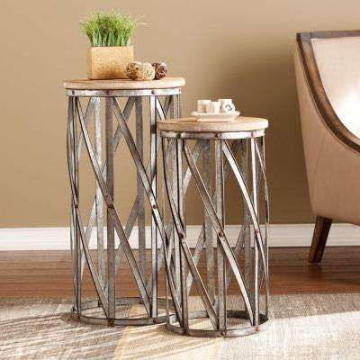 Baltimore Antique Silver End Table Set Of 2 Accent Table Sets